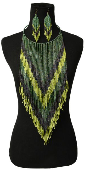 Liz Beaded Necklace Set - Green