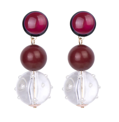 Melody Ball Drop Earrings - Red