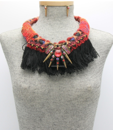 Huma Statement Necklace - Red