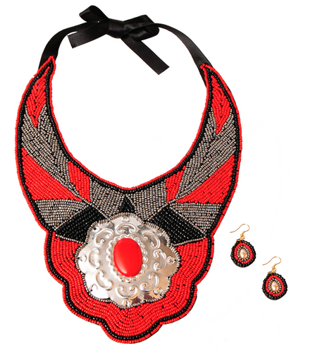 Vanna Beaded Bib - Red, Necklace, Bold Addictions™ - Bold Addictions | Fashion Jewelry & Accessories Boutique