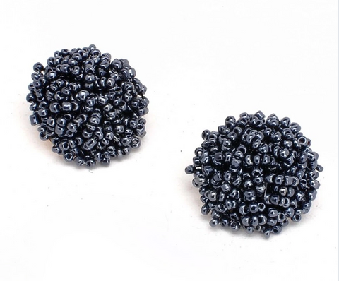 Brandy Beaded Studs - Midnight, Earrings, Bold Addictions™ - Bold Addictions | Fashion Jewelry & Accessories Boutique