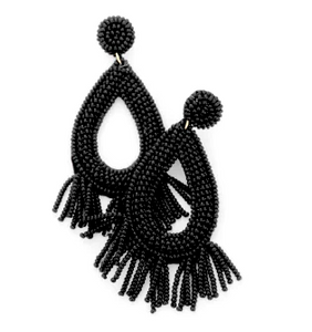 Alika Fringe Drop Earrings - Black, Earrings, Bold Addictions™ - Bold Addictions | Fashion Jewelry & Accessories Boutique