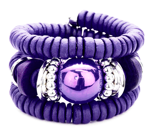 Zara Beaded Stretch Bracelet - Purple