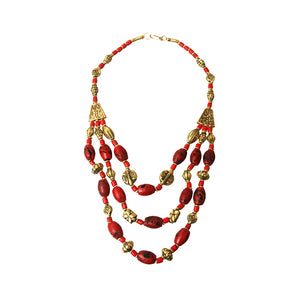 Amira Beaded Necklace - Red