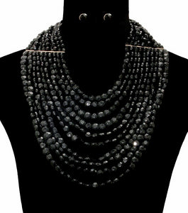 Christina Statement Necklace Set - Black