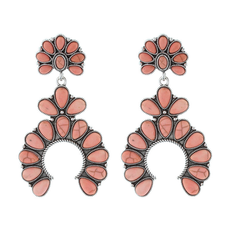 Davonna Horseshoe Earrings - Orange