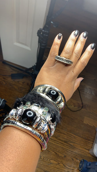 Zara Beaded Stretch Bracelet - Silver, Bracelet, Bold Addictions™ - Bold Addictions | Fashion Jewelry & Accessories Boutique