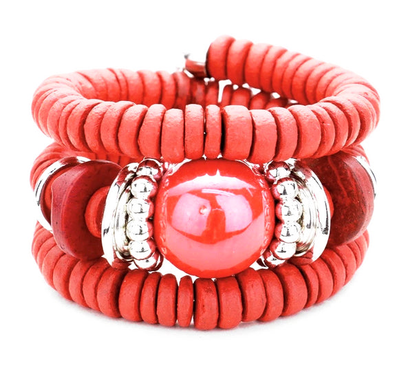 Zara Beaded Stretch Bracelet - Red, Bracelet, Bold Addictions™ - Bold Addictions | Fashion Jewelry & Accessories Boutique