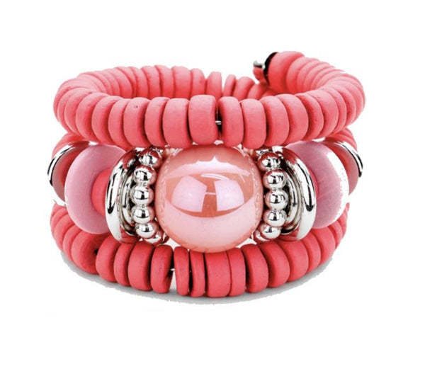 Zara Beaded Stretch Bracelet - Pink