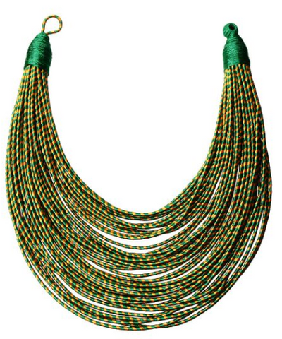 Zuri Tribal Bib - Green, Necklace, Bold Addictions™ - Bold Addictions | Fashion Jewelry & Accessories Boutique