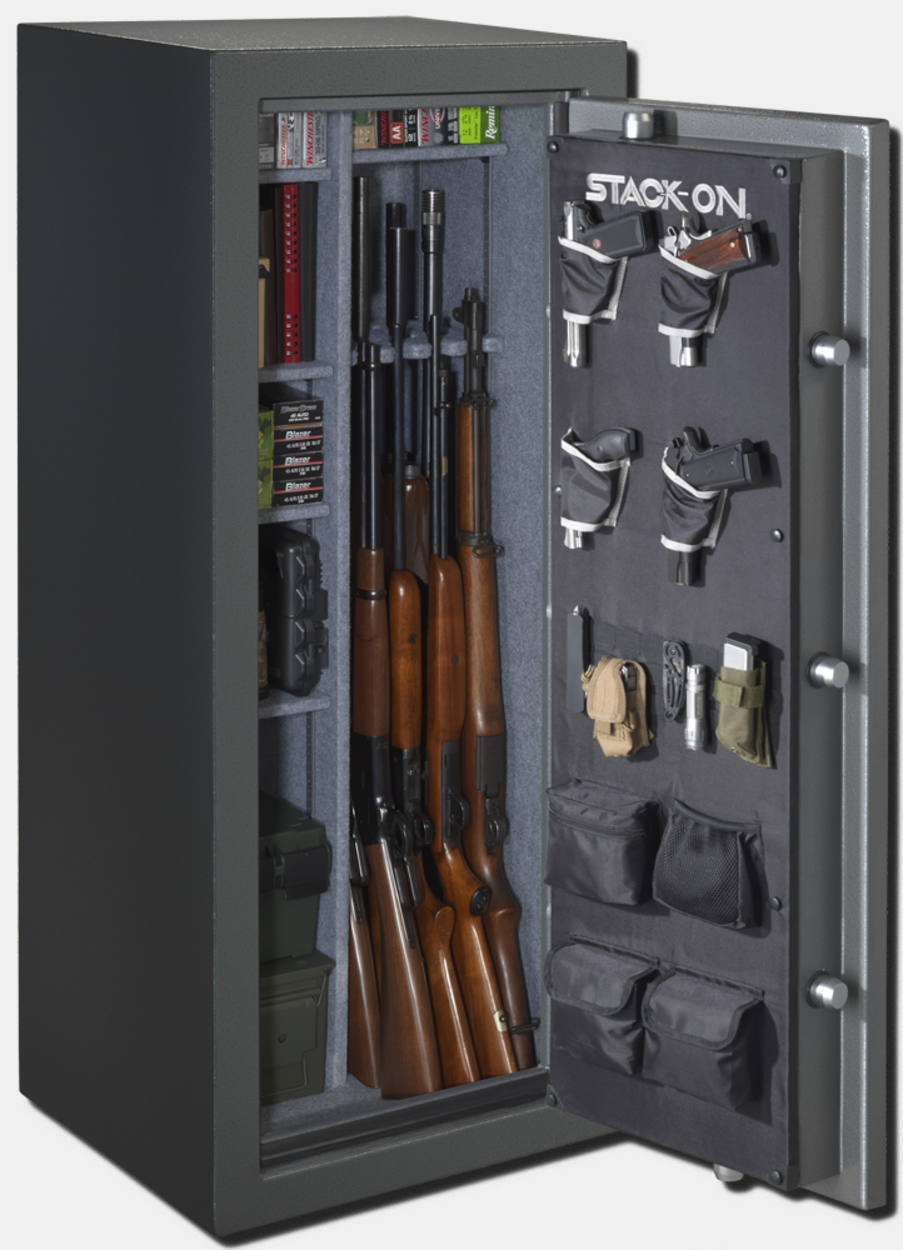 stackon fire resistant water proof gun safe with backlit electronic lock