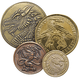 A picture of four coins from House Targaryen from A Game of Thrones