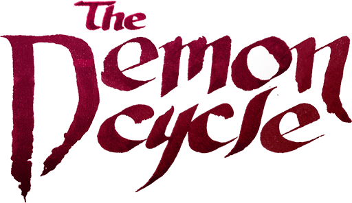 "Handmade calligraphy reading ""The Demon Cycle"" sharp maroon letters"