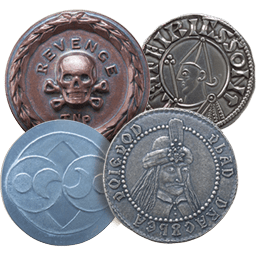 Four coins historical fiction coins in copper, silver, and niobium