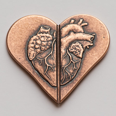 Solid Copper Whole Heart Breakable Coin by Shire Post Mint