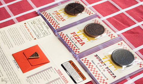 Pizza Coins - Pizzas of 8 - Copper Pizza Slices - Mini Pizza Boxes - Crafted by Shire Post Mint