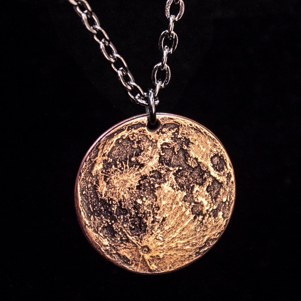 "Copper Full Moon / Blood Moon Necklace on 30"" Chain by Shire Post Mint"