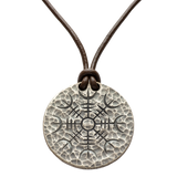 Silver Helm of Awe Coin Necklace - .999 Fine Silver - Aegishjalmur - Warrior's Stave Viking Coinage