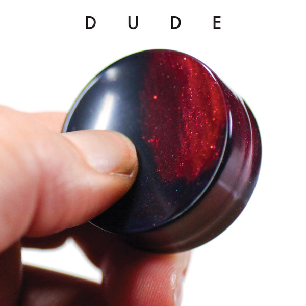 Dude Red and Black Upcycled Bowling Ball Worry Stone | Shire Post Mint Gifts