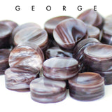 George White and Brown Upcycled Bowling Ball Worry Stone | Shire Post Mint Gifts