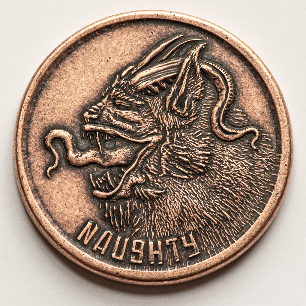 Naughty or Nice Decision Maker - Krampus and Santa Copper Coin Stocking Stuffer Christmas Gifts