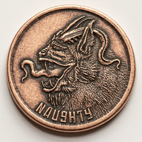 Naughty or Nice Copper Krampus and Santa Coin - Shire Post Mint Xmas Gifts