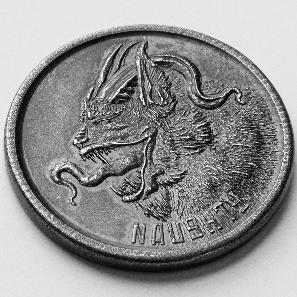 Naughty or Nice Decision Maker - Krampus Black Iron Coin