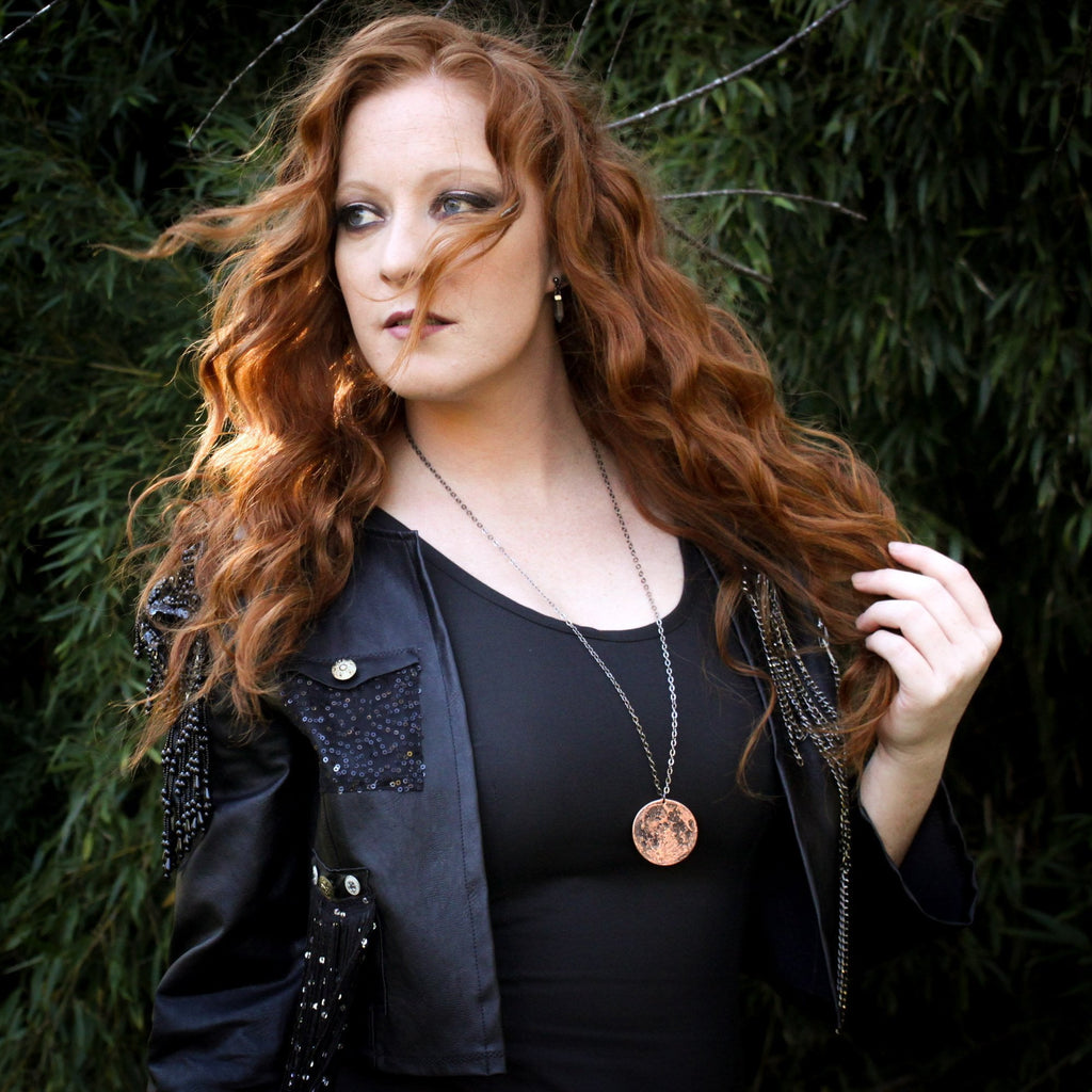 "Copper Full Moon / Blood Moon Necklace on 30"" Chain by Shire Post Mint - model: Emily Mae"