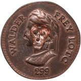 Walder Frey penny with skull and crossbones design stamped into head