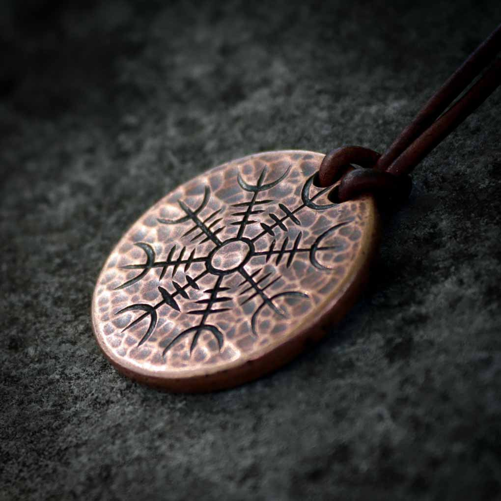 Helm of Awe Copper Coin Necklace - Aegishjalmur - Warrior's Stave Viking Coinage