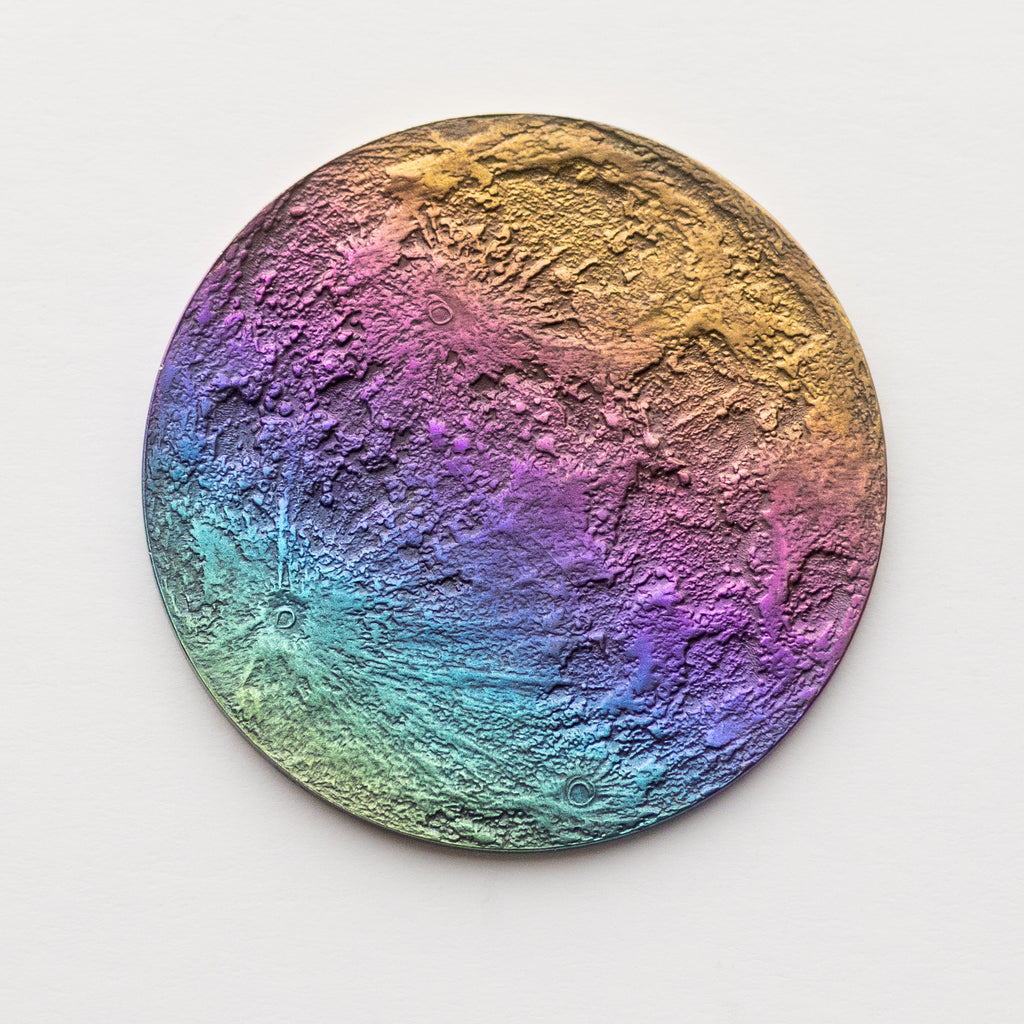 "Rainbow Moon Coin - 1"" Multicolored Anodized Niobium"