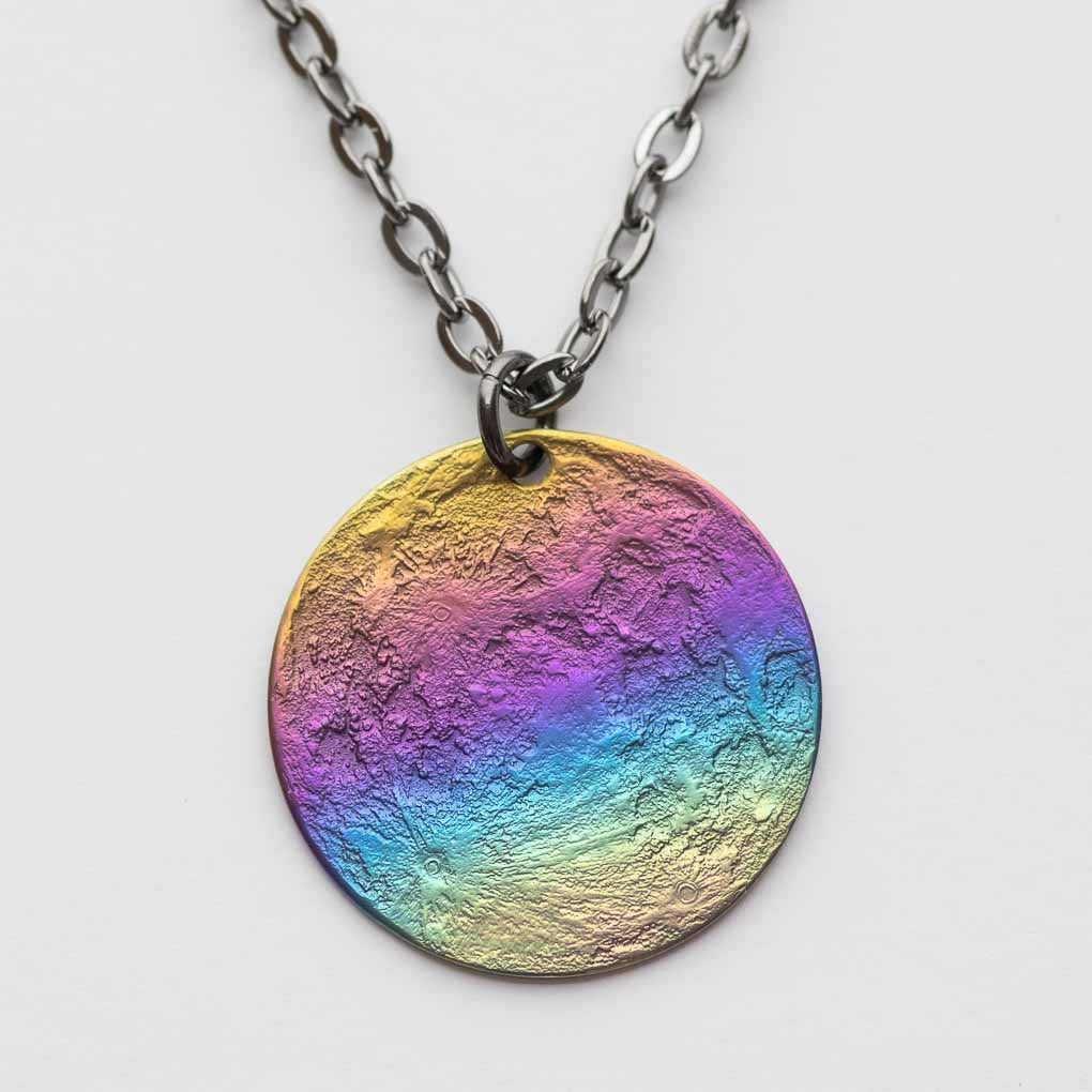 "Rainbow Moon Necklace - Multicolored Anodized Niobium Pendant on 30"" Chain"