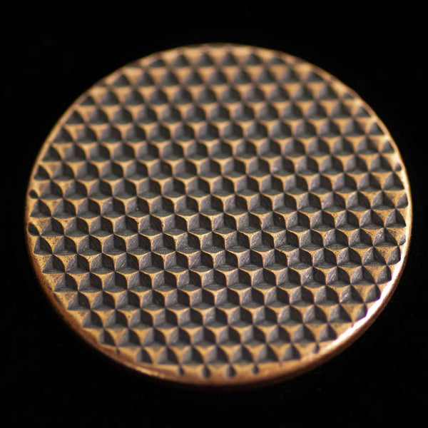 Textured Worry Stone - Antiqued Patina - Geometric Pattern Copper Coin