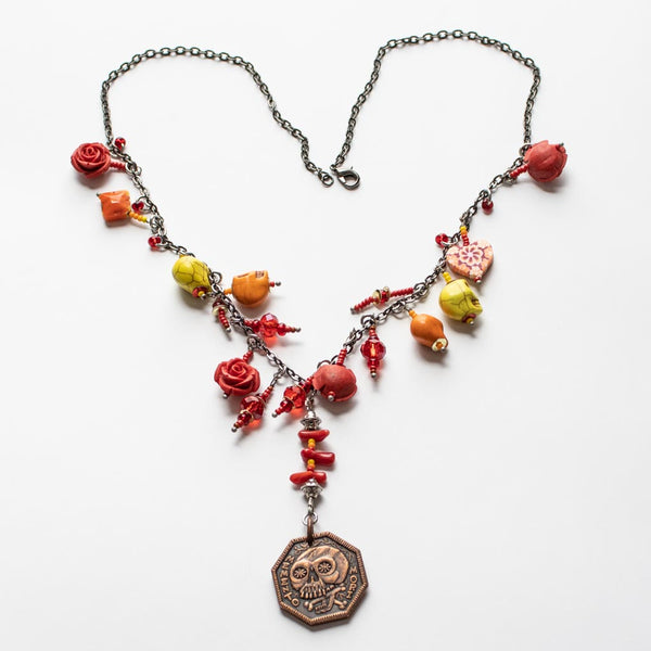 Memento Mori Beaded Necklace - B - Red and Yellow Skulls and Roses