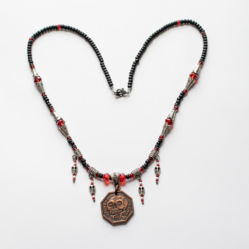 Memento Mori Beaded Necklace - C - Black, Red, and Small Skull Beads