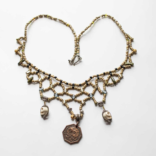 Memento Mori Beaded Necklace - D - Sandy Brown Lattice and Skull Beads
