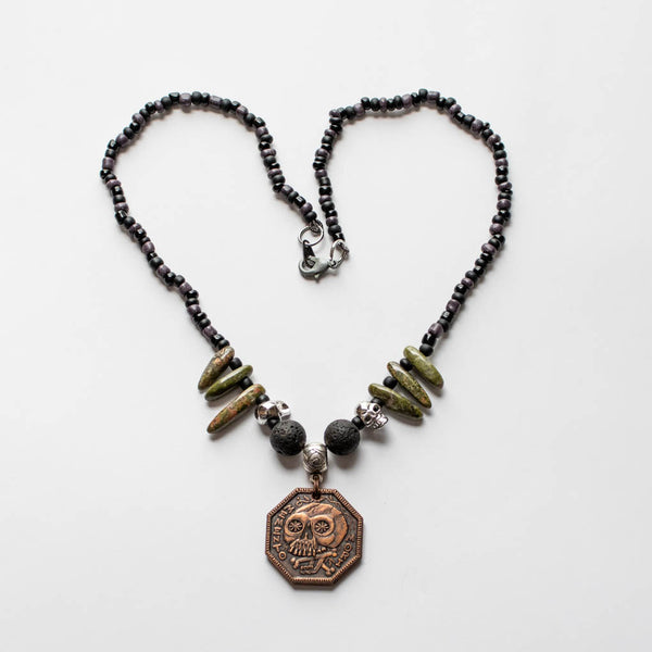 Memento Mori Beaded Necklace - E - Black, Green, and Volcanic Beads