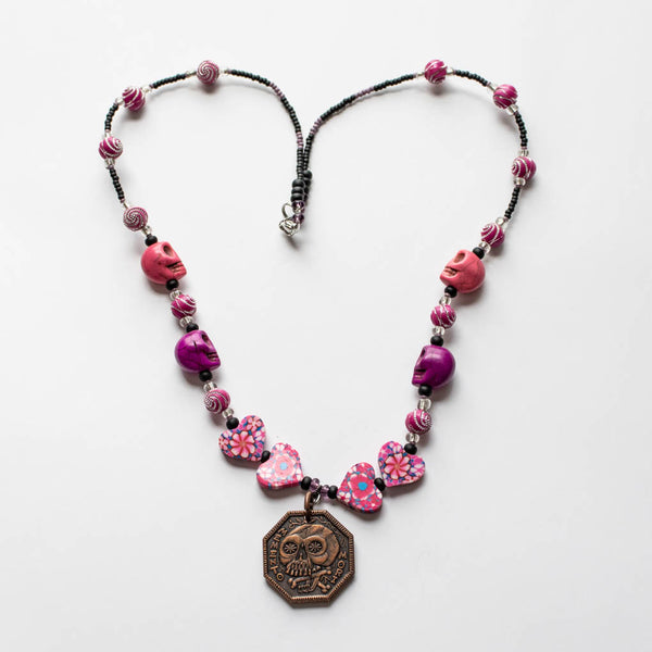 Memento Mori Beaded Necklace - F - Pink Skulls and Hearts