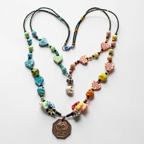 Memento Mori Beaded Necklace - G - Double Strand Rainbow Skulls and Hearts