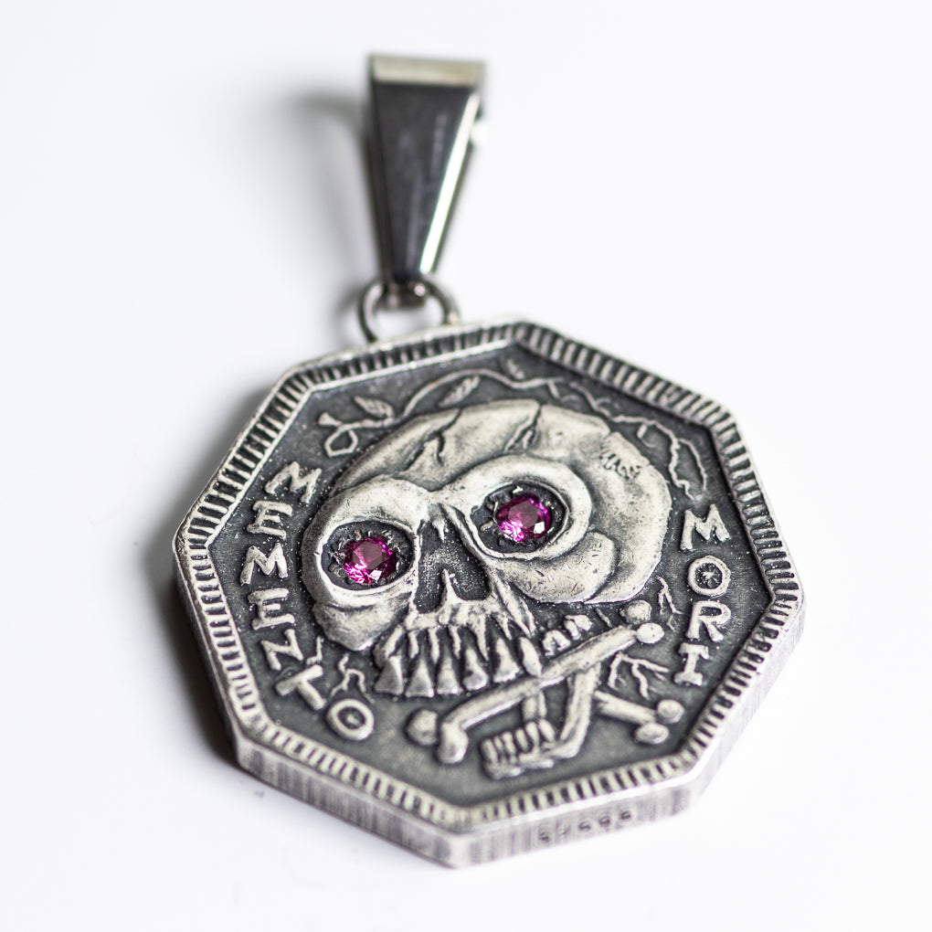 Ruby Inset Eyes Memento Mori Silver Necklace - Stainless Steel Bale | Shire Post Mint