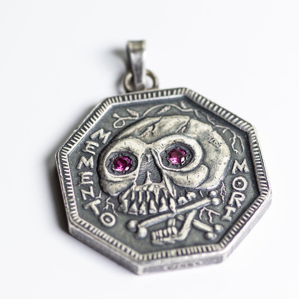 Ruby Inset Eyes Memento Mori Silver Necklace -  Silver Bale | Shire Post Mint