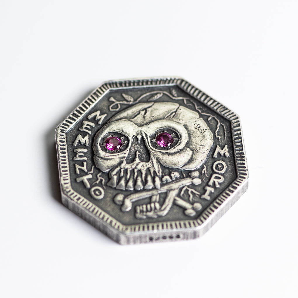 Ruby Inset Eyes Memento Mori Silver Coin - Memento Vivere Reminder Token | Shire Post Mint
