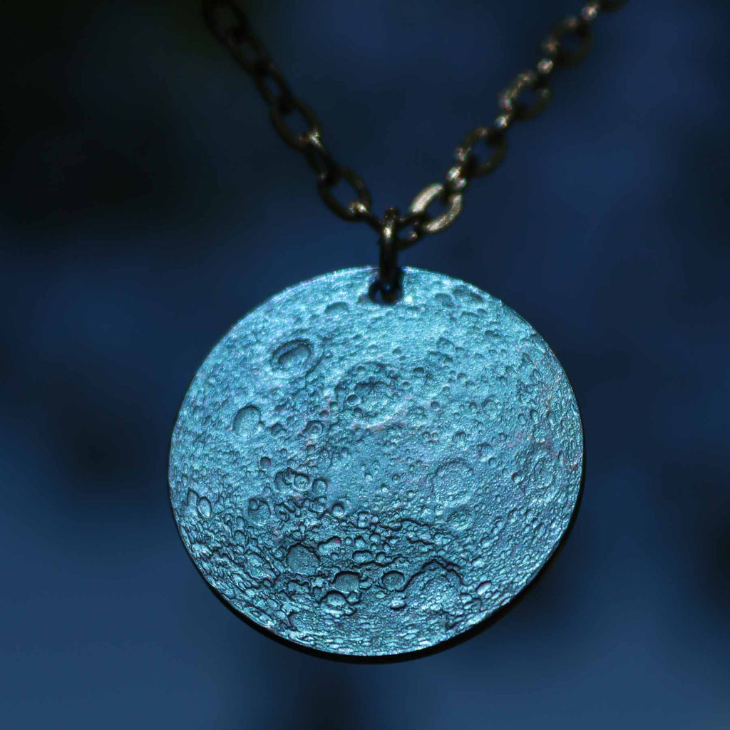 "Blue Moon Necklace - 1"" Anodized Niobium Pendant on 30"" Chain"