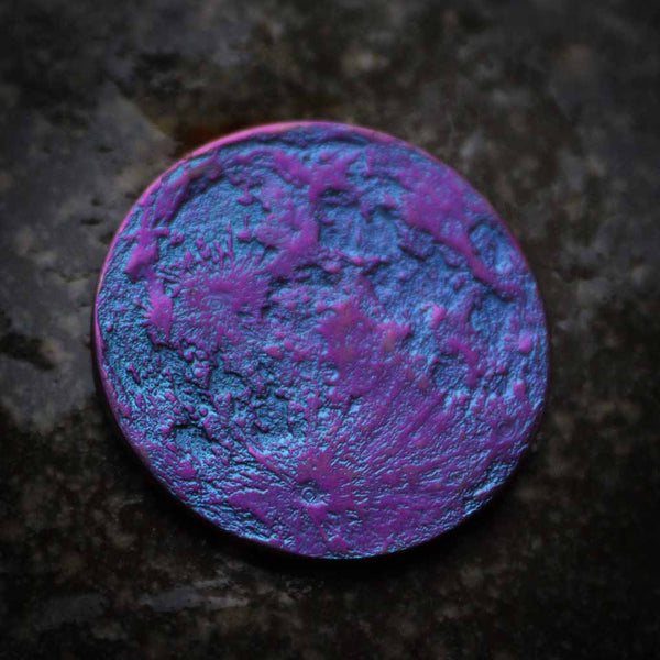 "Blue and Purple Moon Coin - 1"" Anodized Niobium blurple gift outrun"