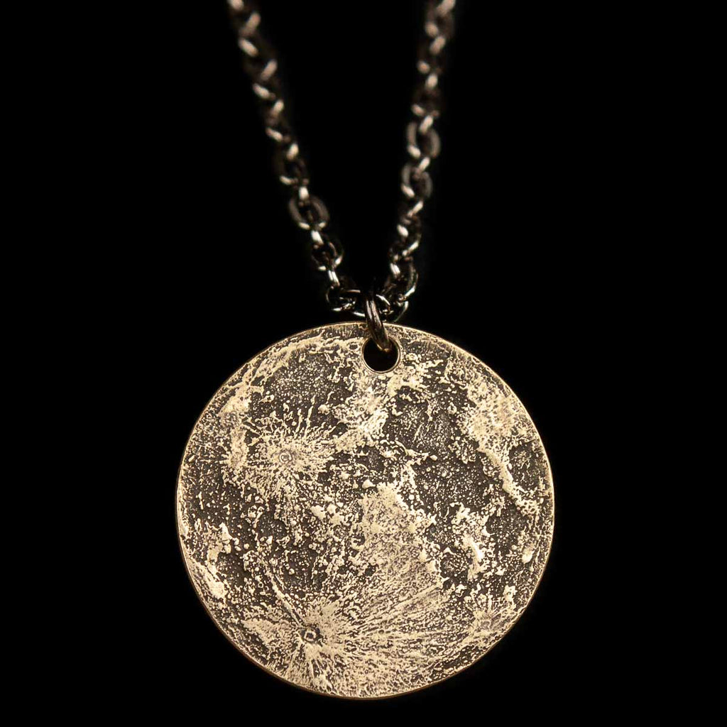 "Harvest Moon Brass Necklace - 1"" Pendant on 30"" Chain"