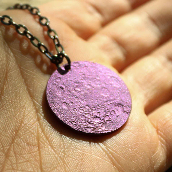 "Purple Moon Necklace - 1"" Anodized Niobium Pendant on 30"" Chain"