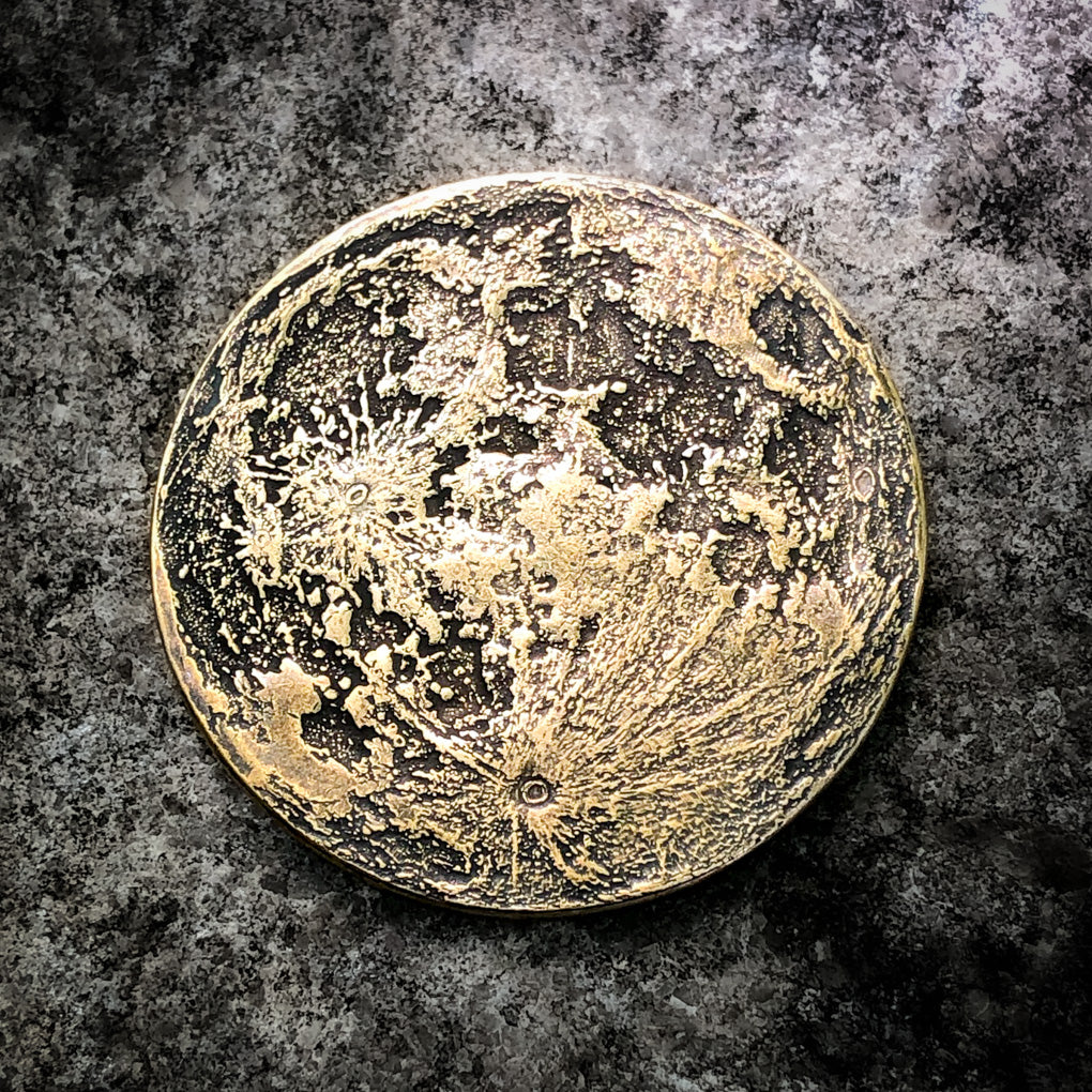 "Large 1.5"" Harvest Moon Brass Coin"
