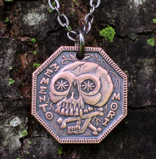 Memento Mori Copper Necklace - Memento Vivere Reminder Jewelry