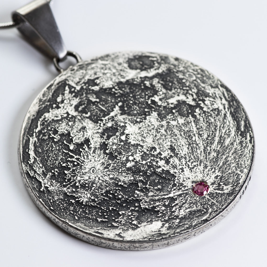 "Ruby Inset Silver Supermoon Necklace - Large 1.5"" Pendant 