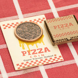 Copper Supreme Pizza Coin with Tiny Pizza Box for Pizza Coins -Mini Laser Cut Collectible Cardboard Box - Skull Mushrooms Pineapple Olives Pepperoni Toppings - Shire Post Mint